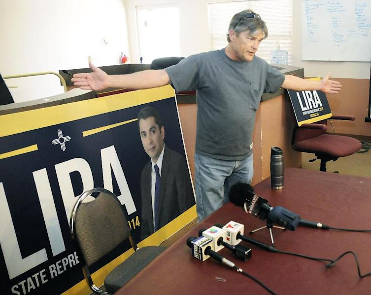 Ken Giovie, who lost by three votes to Christian Lira in the Sunland Park city councilor election, voices his frustrations during an impromptu press conference immediately following Lira's announcement on Friday, March 7, 2014, at City Hall in Las Cruces, New Mexico. (AP Photo/Las Cruces Sun-News, Robin Zielinski)