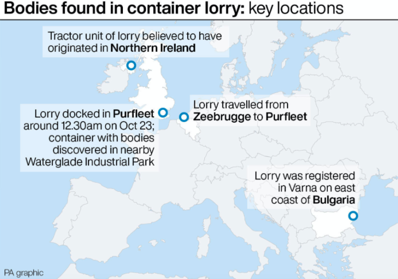 Key locations in the investigations of the lorry deaths (PA)