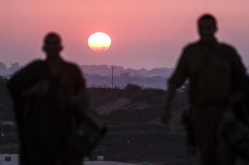The sun sets over the Gaza Strip on August 4, 2014 (AFP Photo/Jack Guez )