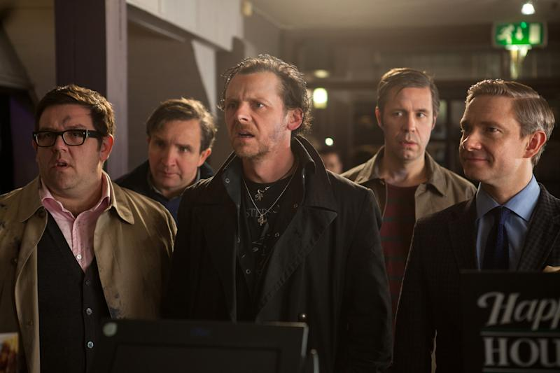 "This film publicity image released by Focus Features shows, from left, Nick Frost, Eddie Marsan, Simon Pegg, Paddy Considine and Martin Freeman in a scene from ""The World's End."" (AP Photo/Focus Features, Laurie Sparham)"