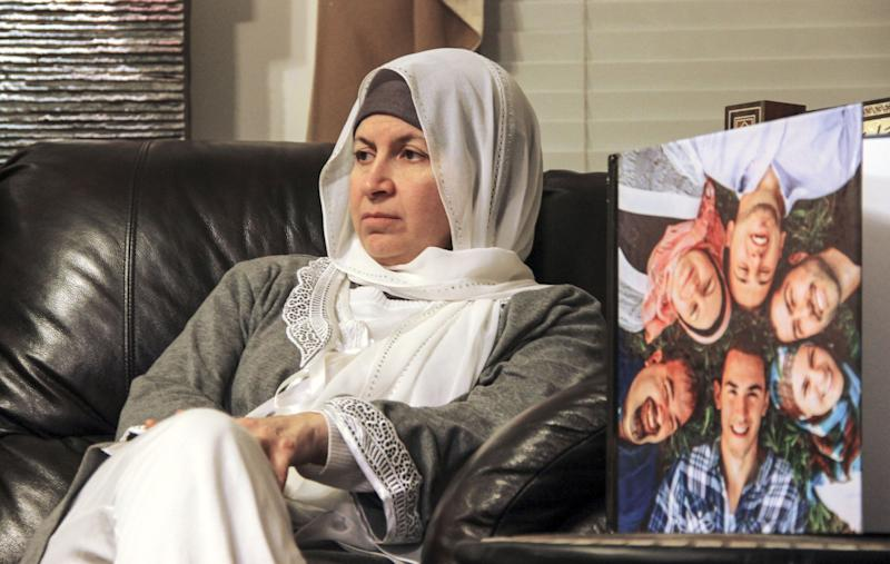 Leila Barakat, mother of shooting victim Deah Shaddy Barakat, spoke with media shortly after the murders in 2015. Her other two children, Farris and Suzanne, delivered powerful testimonies on Wednesday about the loss of their brother. (Photo: Anadolu Agency via Getty Images)