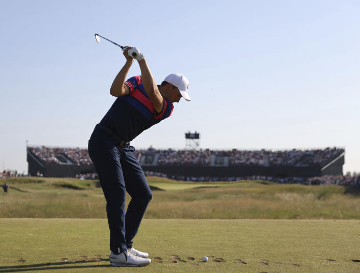 United States' Jordan Spieth tees off the 16th hole during the final round of the British Open Golf Championship at Royal St George's golf course Sandwich, England, Sunday, July 18, 2021. (AP Photo/Ian Walton)
