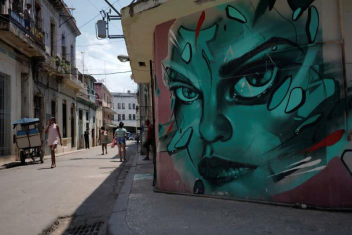 A view of a painting in San Isidro road in Havana