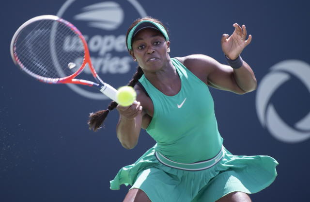 Sloane Stephens of the United States returns to Anastasija Sevastova of Latvia during quarterfinals play at the Rogers Cup tennis tournament Friday, Aug. 10, 2018 in Montreal. (Paul Chiasson/The Canadian Press via AP)