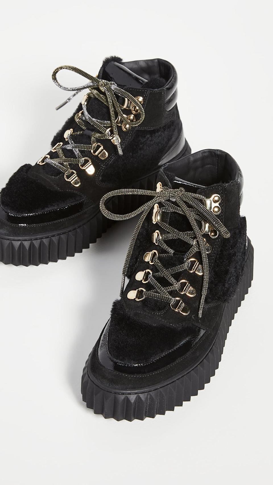 <p>We're all about the cozy vibes right now. These <span>Voile Blanche Eva Shearling Hiker Boots</span> ($298) are definitely the kinds of boots we want to wear.</p>