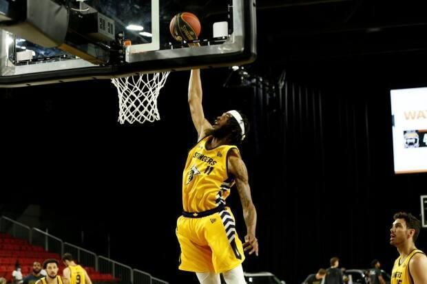 Edmonton Stingers forward Marlon Johnson led the way for the defending champions with 27 points, including the game-sealing shot in Edmonton's 91-87 victory over the Hamilton Honey Badgers on Saturday. (CEBL - image credit)