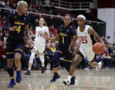 Stanford guard Kiana Williams, right, drives the ball next to California guard Leilani McIntosh (1) during the first half of an NCAA college basketball game Friday, Jan. 10, 2020, in Stanford, Calif. (AP Photo/Ben Margot)