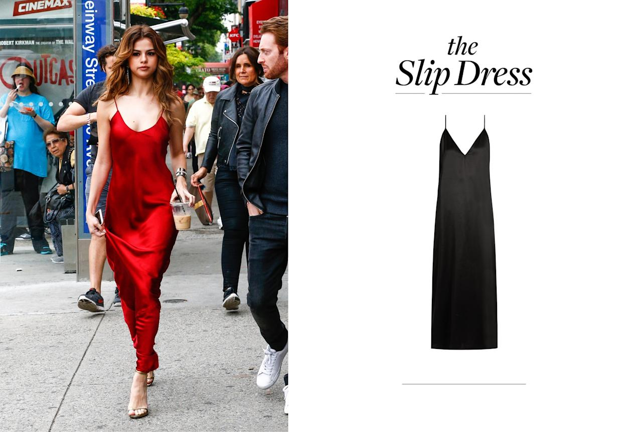 <p>The slip dress is one of Gomez's go-to looks. It is flattering and easy to dress up or down. (Photos: From left, Backgrid, Raey) </p>