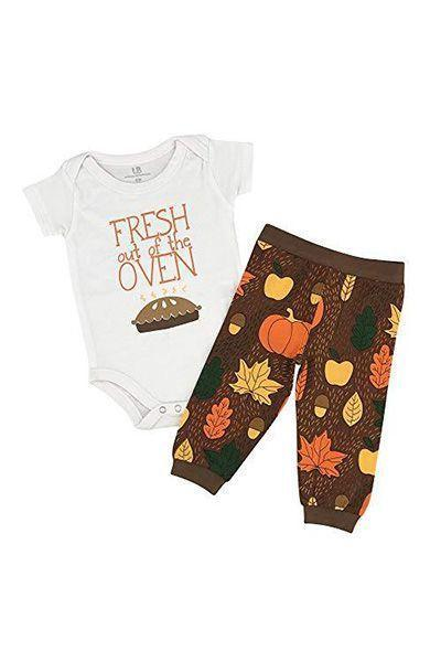 """<p><strong>Unique Baby</strong></p><p>amazon.com</p><p><strong>18.99</strong></p><p><a href=""""http://www.amazon.com/dp/B07FLMD3G2/?tag=syn-yahoo-20&ascsubtag=%5Bartid%7C10055.g.23100250%5Bsrc%7Cyahoo-us"""" rel=""""nofollow noopener"""" target=""""_blank"""" data-ylk=""""slk:Shop Now"""" class=""""link rapid-noclick-resp"""">Shop Now</a></p><p>Even if your bun has only just recently exited the oven, there are still clothes tiny enough for Thanksgiving festivities.</p>"""