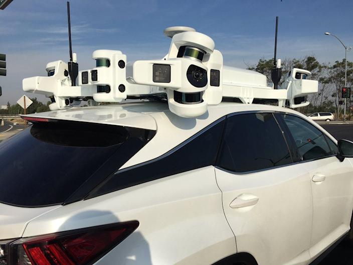 Apple self driving car LIDAR sensors rack