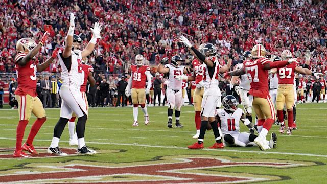 The Atlanta Falcons caused a huge upset with a late win over the San Francisco 49ers in the NFL.