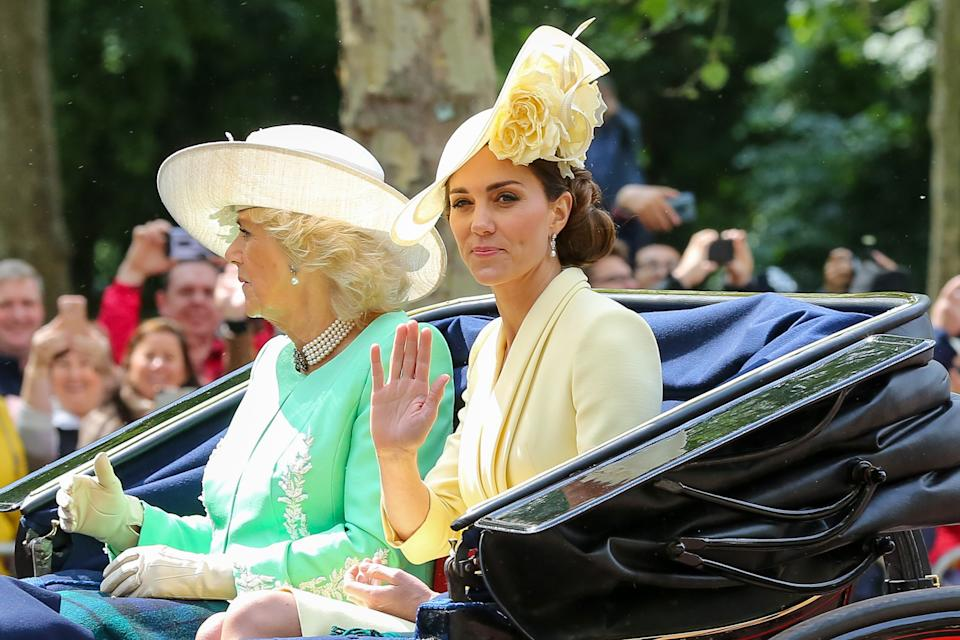 Catherine Duchess of Cambridge and Camilla Duchess of Cornwall  in a carriage at the Trooping the Colour ceremony
