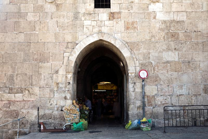 Vegetables for sale are seen near Herod's Gate in Jerusalem's Old City. (Photo: Nir Elias/Reuters)