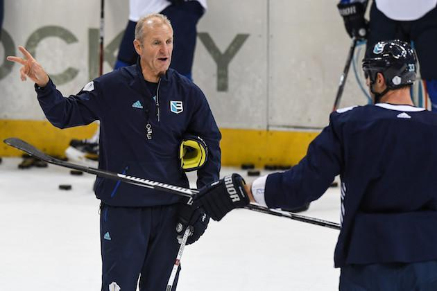 TORONTO, ON – SEPTEMBER 16: Head coach of Team Europe Ralph Krueger gives instructions during practice at the World Cup of Hockey 2016 at Air Canada Centre on September 16, 2016 in Toronto, Ontario, Canada. (Photo by Minas Panagiotakis/Getty Images)
