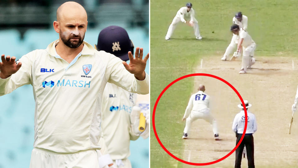 Nathan Lyon, pictured here in the Sheffield Shield against Victoria.