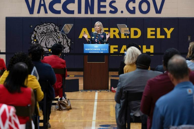 US First Lady Jill Biden speaks at a vaccination facility in Savannah, Georgia, on July 8, 2021