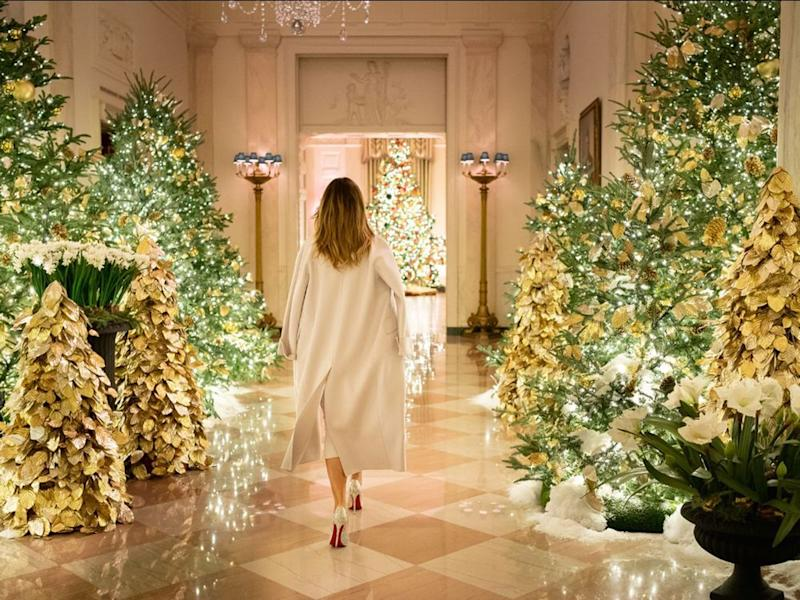 The 2019 White House Christmas decorations by First Lady Melania Trump (center)   Official White House Photo by Andrea Hanks