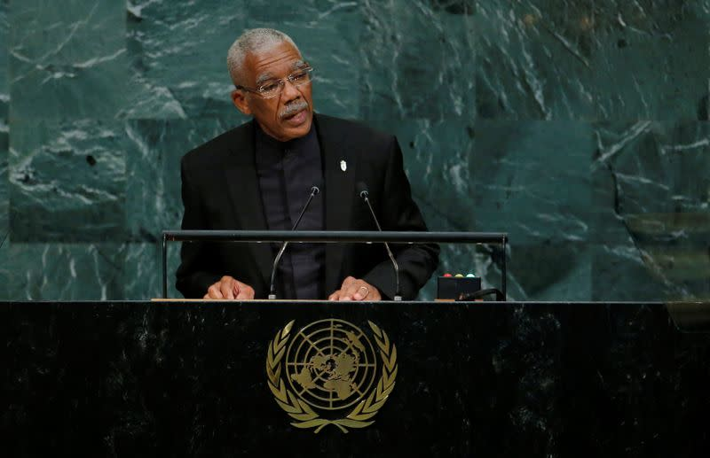 FILE PHOTO: Guyana President Granger addresses the 72nd United Nations General Assembly at U.N. Headquarters in New York