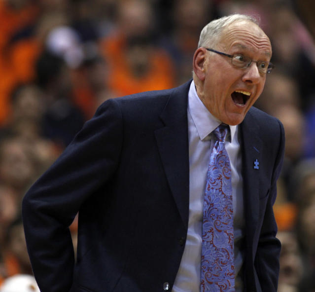 Syracuse head coach Jim Boeheim reacts to a play late in the second half of an NCAA college basketball game against Duke in Syracuse, N.Y., Saturday, Feb. 1, 2014. Syracuse won 91-89. (AP Photo/Nick Lisi)