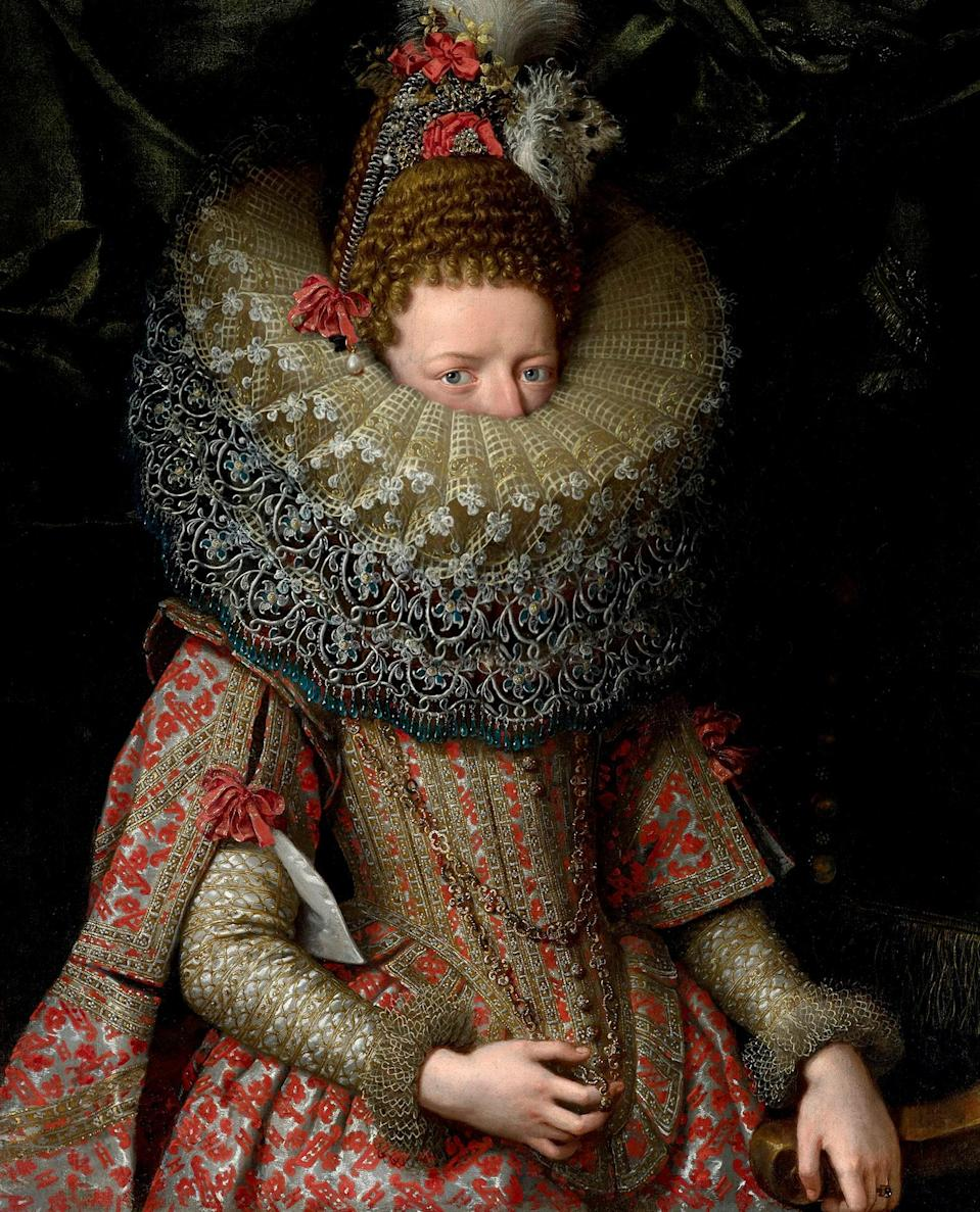 Based on a portrait of Margherita Gonzaga, Duchess of Lorraine by Frans Pourbus the Younger, 1606.