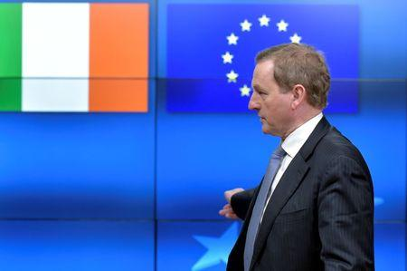 Irish PM Kenny leaves after a meeting with EU Council President Tusk in Brussels