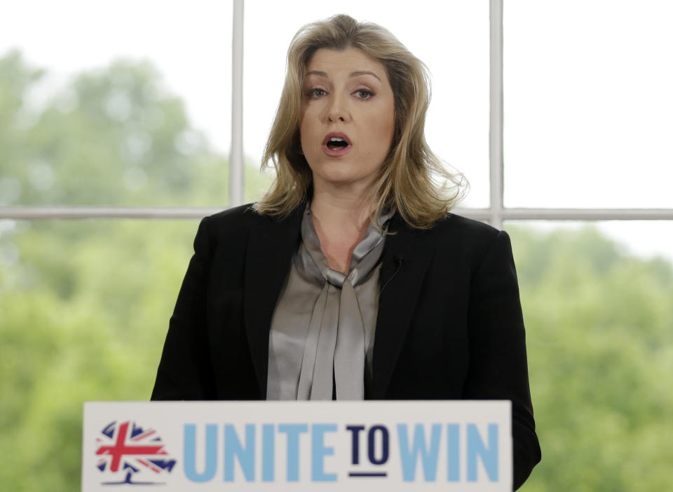 Britain's Defence Secretary Penny Mordaunt speaks ahead of Foreign Secretary Jeremy Hunt launching his leadership campaign for the Conservative Party in London, Monday June 10, 2019. British Prime Minister Theresa May stepped down Friday as Conservative Party leader after failing to secure Parliament's backing for her European Union withdrawal deal. (AP Photo/Matt Dunham)