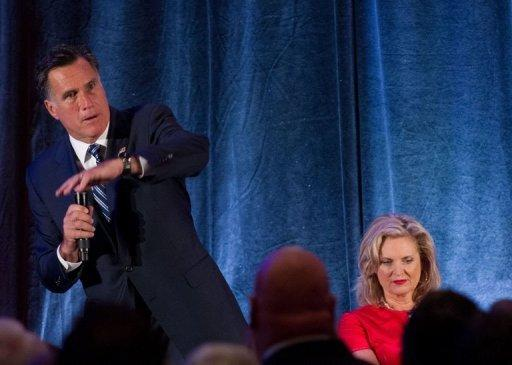 US Republican presidential candidate Mitt Romney speaks at a fundraiser in Dallas on September 18, 2012. Romney's electoral chances took another hit as secretly-shot video footage showed him dismissing Palestinians and saying there was no point in pursuing Middle East peace
