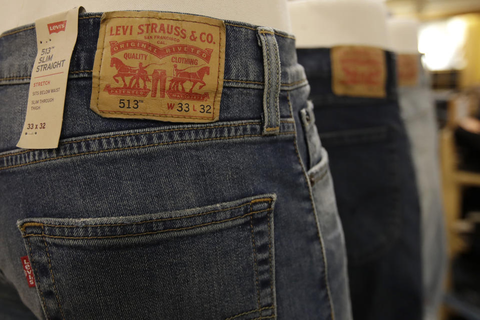 Levi's jeans are displayed at a Kohl's store in Colma, Calif., Friday, Nov. 29, 2019. (AP Photo/Jeff Chiu)