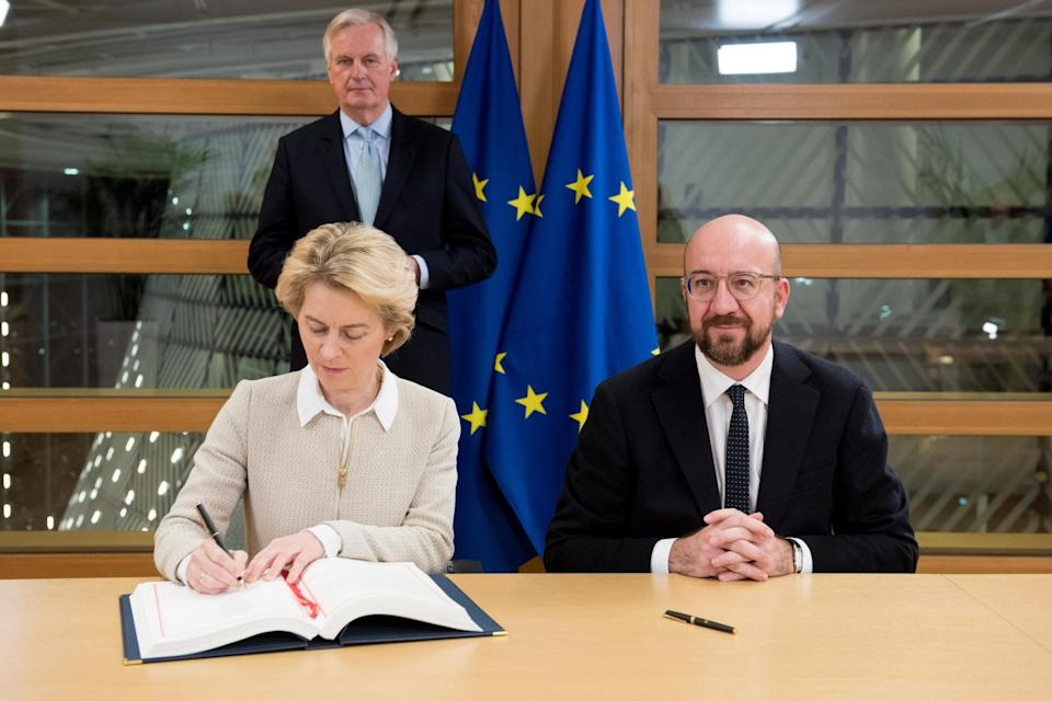 European Commission President Ursula von der Leyen signing the Agreement on the Withdrawal of the UK from the EU (European Commission/PA Wire)