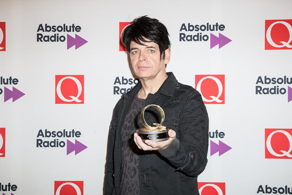 Gary Numan poses for photographers after receiving the Q award for best innovation of sound in London, Monday, Oct. 19, 2015. (Photo by Vianney Le Caer/Invision/AP)