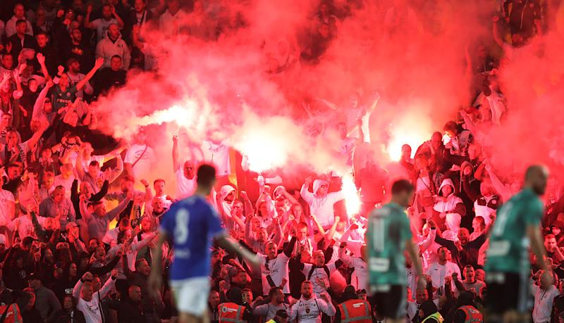 GLASGOW, SCOTLAND - AUGUST 29: Leigia Warsaw fans are seen during the UEFA Europa League Play Off First Leg match between Rangers FC and Legia Warsaw at Ibrox Stadium on August 29, 2019 in Glasgow, United Kingdom. (Photo by Ian MacNicol/Getty Images)