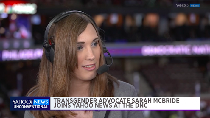 Sarah McBride discusses her life as a transgender woman at the Democratic National Convention. (Photo: Yahoo News)