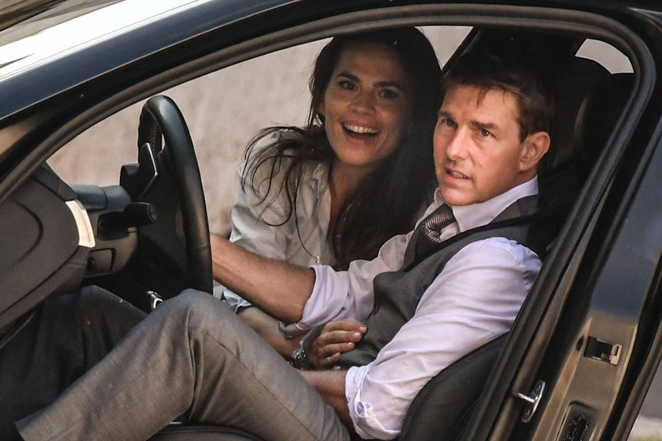 <p>Tom Cruise with co-star Hayley Atwell on the set of 'Mission: Impossible 7'</p> (AFP/Getty)