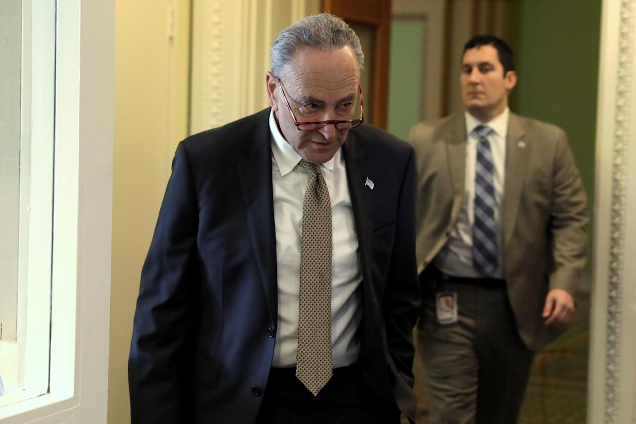 Senate Minority Leader Chuck Schumer (D-NY) arrives at a news conference on healthcare on Capitol Hill in Washington, U.S., January 15, 2019. REUTERS/Yuri Gripas