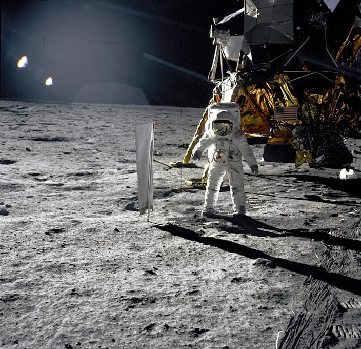 This photograph of astronaut Buzz Aldrin on the lunar surface on July 20, 1969, was taken by Neil Armstrong with a 70 mm lunar surface camera. (Photo: NASA)