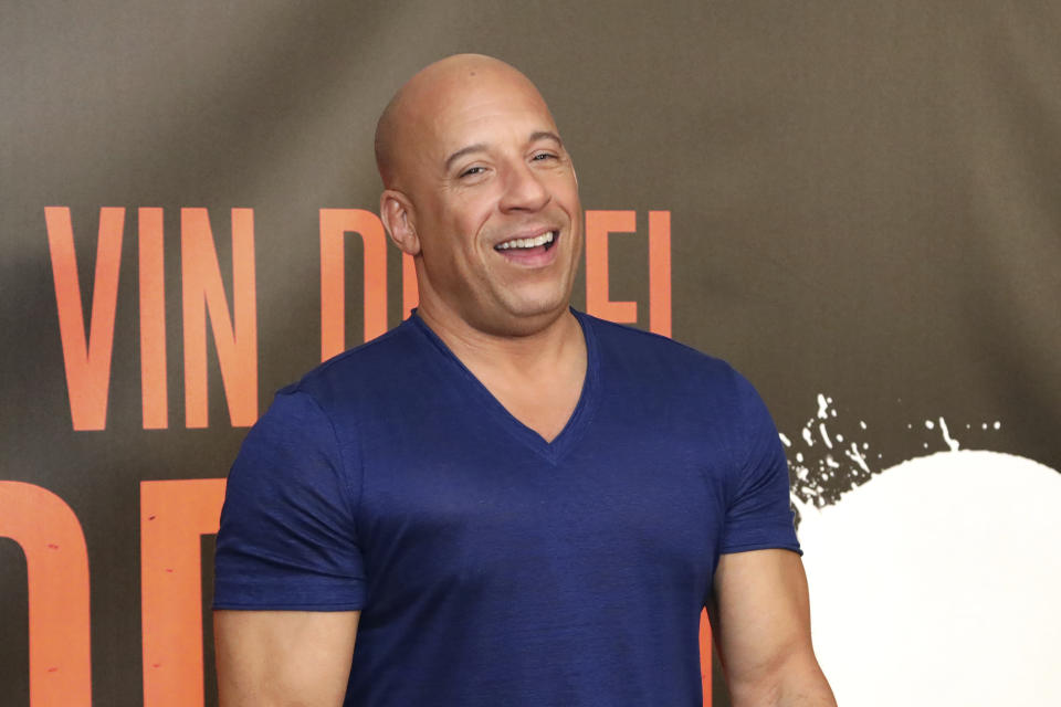 "Vin Diesel poses for a photo at the ""Bloodshot"" Photo Call at The London West Hollywood at Beverly Hills hotel on Friday, March 6, 2020, in West Holywood, Calif. (Photo by Willy Sanjuan/Invision/AP)"