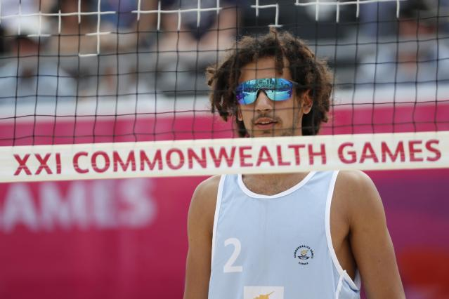 Beach Volleyball - Gold Coast 2018 Commonwealth Games - Men Preliminary - Pool C - New Zealand v Cyprus - Coolangatta Beachfront - Gold Coast, Australia - April 6, 2018. Georgios Chrysostomou of Cyprus looks on. REUTERS/Paul Childs