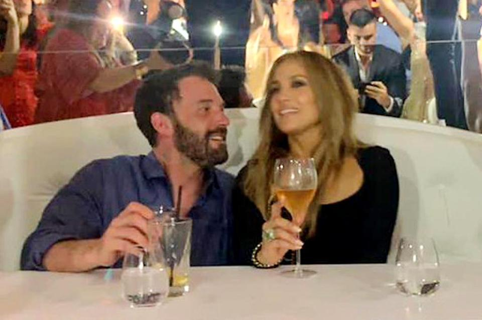 """<p>The pair shared another intimate moment amidst the """"Cambia El Paso"""" singer's birthday celebrations in St. Tropez. </p> <p>According to a <a href=""""https://people.com/movies/jennifer-lopez-ben-affleck-kiss-celebrating-her-52-birthday/"""" rel=""""nofollow noopener"""" target=""""_blank"""" data-ylk=""""slk:Hollywood insider"""" class=""""link rapid-noclick-resp"""">Hollywood insider</a>, the couple """"are madly in love"""" and """"the loves of each other's lives.""""</p>"""