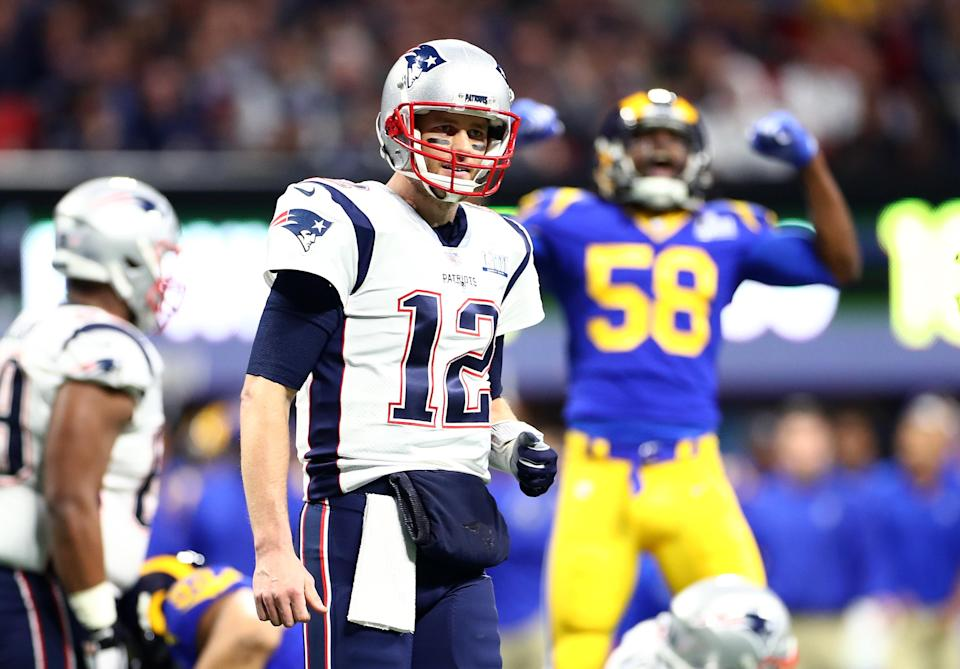 New England Patriots' Tom Brady threw a pick on his first pass of Super Bowl LIII. (Getty Images)