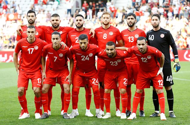 Soccer Football - International Friendly - Tunisia vs Turkey - Stade de Geneve, Geneva, Switzerland - June 1, 2018 Tunisia players pose for a team group photo before the match REUTERS/Denis Balibouse