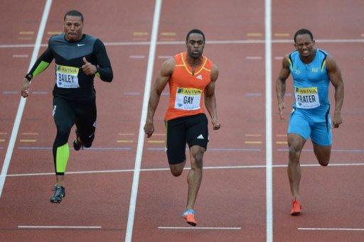 L-R: US athlete Ryan Bailey, US athlete Tyson Gay and Jamaica's Michael Frater