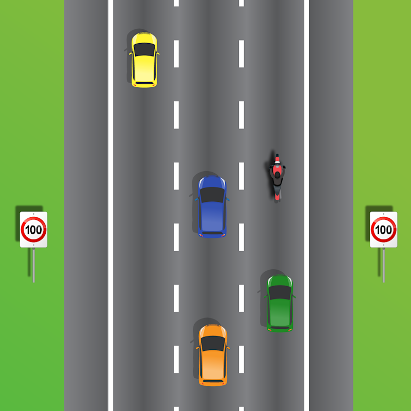 Several cars are pictured on a three-lane road. A quiz asks if the blue car can stay in the middle lane on a three-lane road.