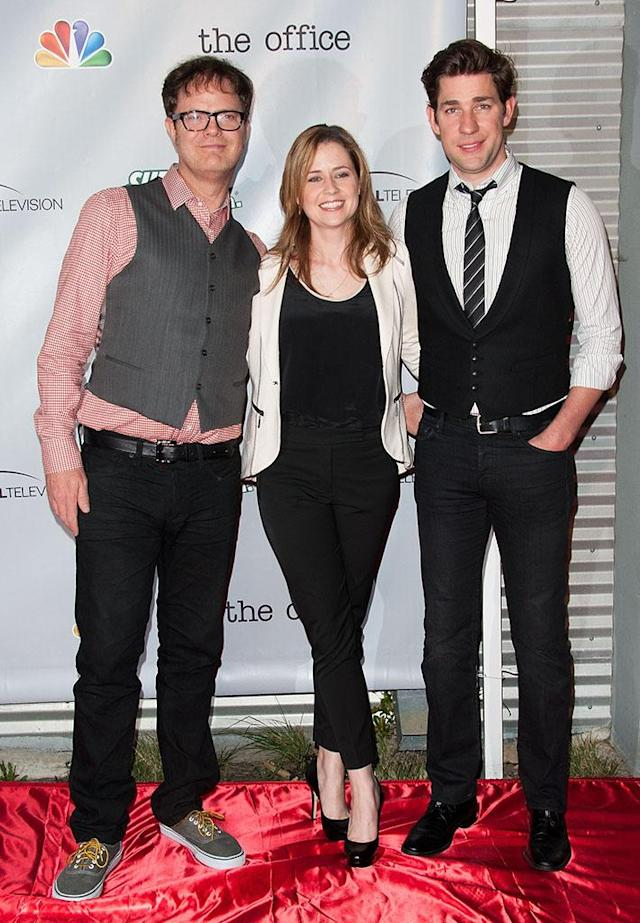 """Rainn Wilson, Jenna Fischer and John Krasinski arrive at """"The Office"""" series finale wrap party at Unici Casa Gallery on March 16, 2013 in Culver City, California."""