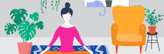 Woman sitting at home meditating, surrounded by plants