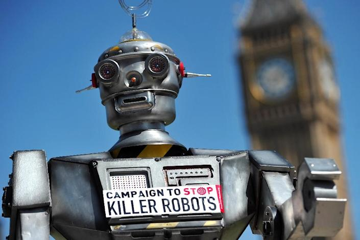 """The """"Campaign to Stop Killer Robots"""" was launched in London in 2013 (AFP Photo/Carl Court)"""