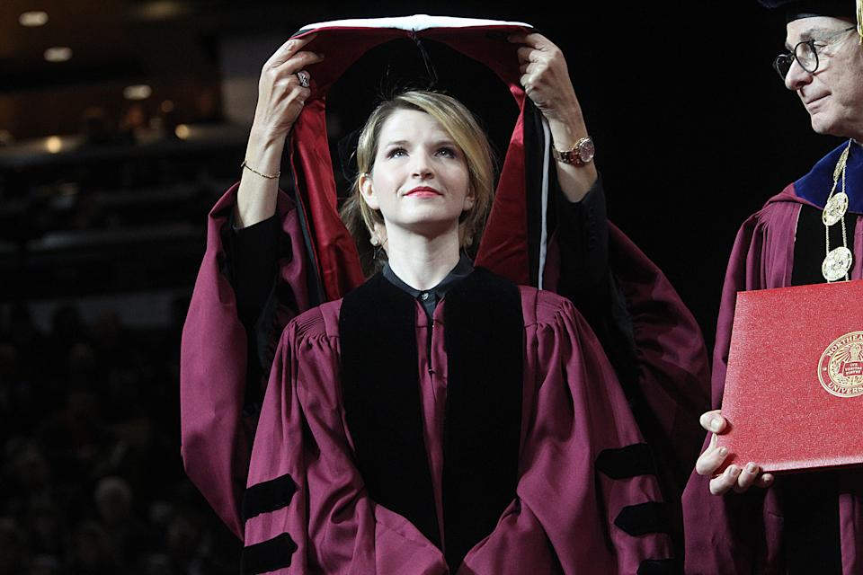 BOSTON, MA - MAY 3:  Author Tara Westover receives her honorary degree at the Northeastern University graduation at the TD Garden on May 03, 2019. (Photo by Suzanne Kreiter/The Boston Globe via Getty Images)