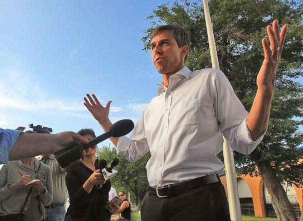 PHOTO: Candidate for U.S. Senate from Texas, Beto O'Rourke speaks during a news conference at the Hidalgo Memorial Park in Hidalgo, Texas, Monday, June 11, 2018. (Joel Martinez/The Monitor via AP)
