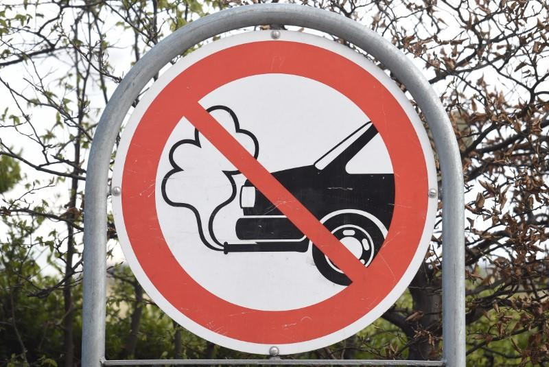 An anti-exhaust emission traffic sign is pictured in Copenhagen