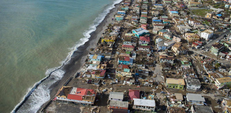 An aerial view of Roseau, the capital of Dominica, shows the destruction on Thursday, three days after passage of Hurricane Maria.