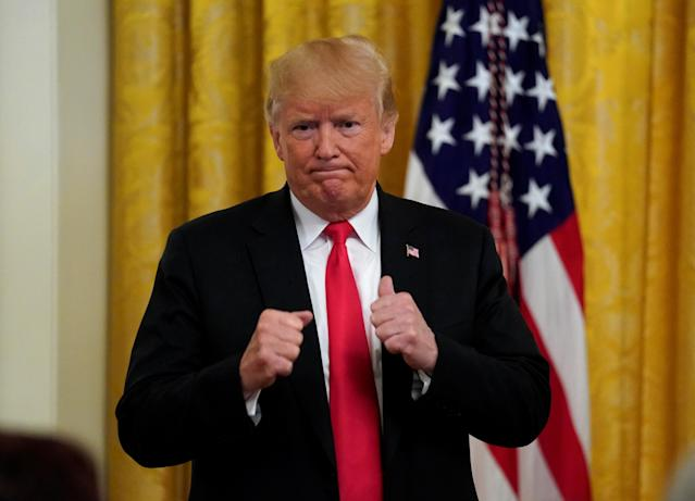 President Trump at a White House event honoring Immigration and Customs Enforcement and Customs Border Protection in 2018. (Photo: Kevin Lamarque/Reuters)